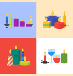 cartoon candles banner card set vector image vector image
