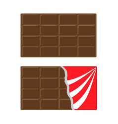 Chocolate bar icon set opened red wrapping paper vector