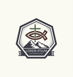 christian logo with biblical symbols vector image vector image