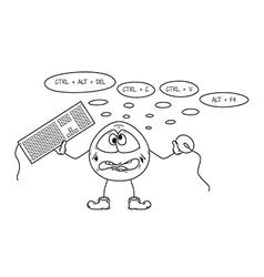 Crazy programmer sketch vector