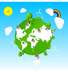 Ecology world tree sun cloud rainbow and sky vector