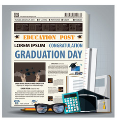 Education and graduation newspaper lay out with vector