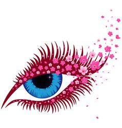 Female blue eye with small pink sakura flowers vector