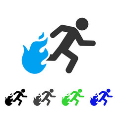Fired running man flat icon vector