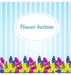 Floral blue background with flower buds narcissus vector