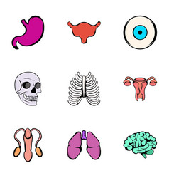 human body icons set cartoon style vector image