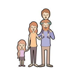 Light color caricature thick contour big family vector
