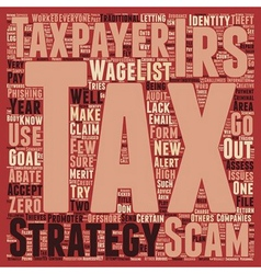List of tax scams released by irs text background vector