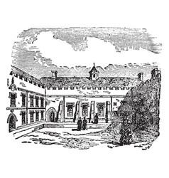 Quadrangle covered arcades or cloisters vintage vector