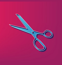 Scissors sign blue 3d vector
