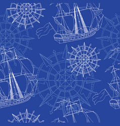 seamless background with sailboats and compass vector image vector image