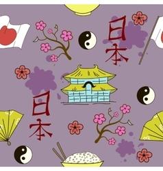 Seamless Japanese symbols pattern vector image