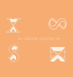 Set creative logos typography and hourglass vector image vector image