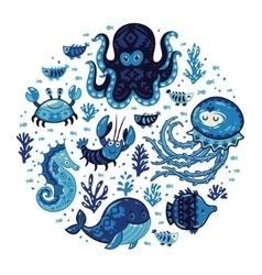 Set of cartoon marine animals in round frame vector