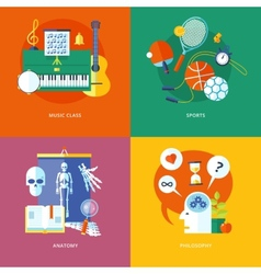 Set of flat design concept icons for school and vector image