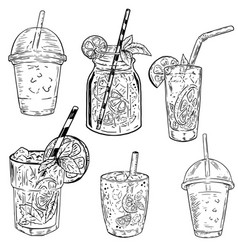 set of hand drawn cocktails design elements for vector image