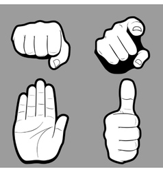 Set of hands in many and different gesture vector