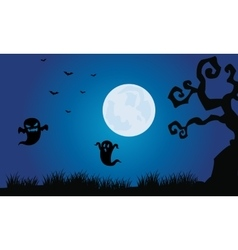 Silhouette of ghost and bat Halloween scenery vector image vector image