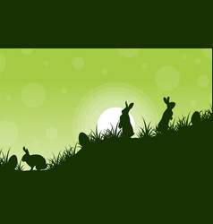 silhouette of rabbit and egg scenery vector image vector image