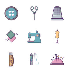 Tailor stuff icons set flat style vector