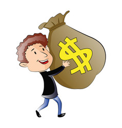 young man holding a sack of money vector image vector image