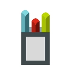 Colorful chalks in carton box icon flat style vector