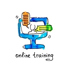 Sketch watercolor icon of online training vector