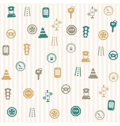 Traffic icons seamless pattern vector image