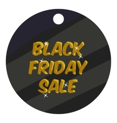 Round tag black friday sale icon cartoon style vector