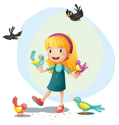 A girl playing with the birds vector image