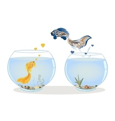 Fish jumping to his lover vector