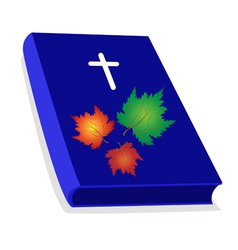 Holy bible with wooden cross and maple leaves vector
