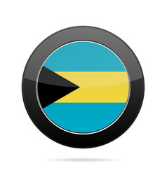 Flag of bahamas shiny black round button vector