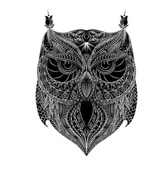 Owl white brush vector