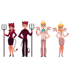 Set of male female angels and devils in business vector