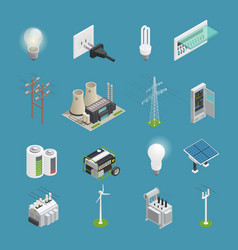electricity power icons isometric collection vector image