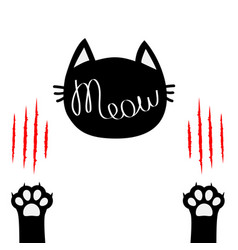 Black cat head meow lettering contour text two vector