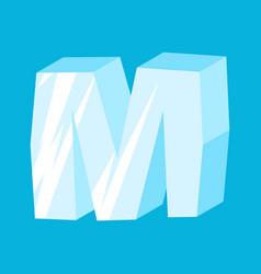 Letter m ice font icicles alphabet freeze vector