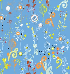 Seamless floral repeat pattern in blue colors vector