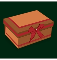 Handsome gift box with a bow on a green background vector