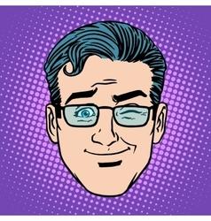 Emoji game wink man face icon symbol vector image