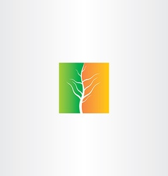 Half spring and half autumn tree icon vector