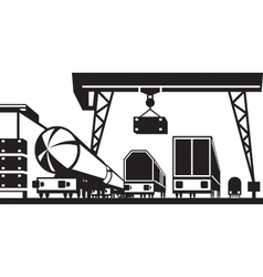 Railway cargo station vector