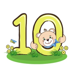 The number ten and cheerful bear vector