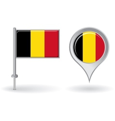 Belgian pin icon and map pointer flag vector