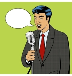 Businessman with microphone pop art vector image