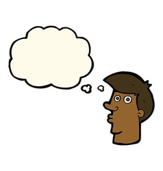 Cartoon confused man with thought bubble vector