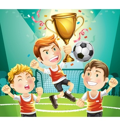 childrens soccer champion vector image vector image