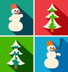 Christmas long shadow icons vector image
