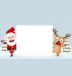 christmas santa claus reindeer and snowmen vector image vector image